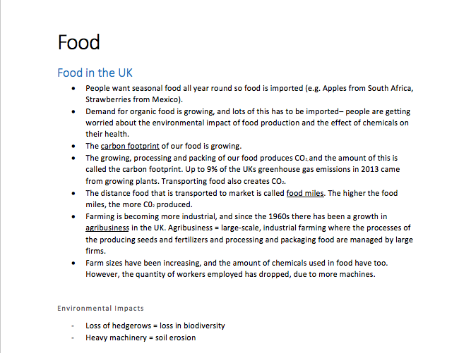 GCSE Geography- Food Notes (a complete comprehensive guide!)