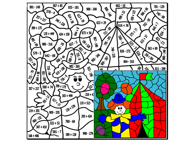 Addition and Subtraction to 999 Colouring Puzzle by Arithmetints