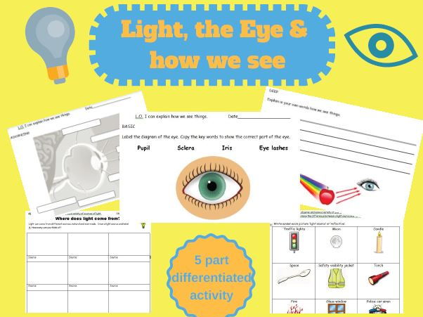 Science - Light and the Eye, How we see, KS1 worksheets