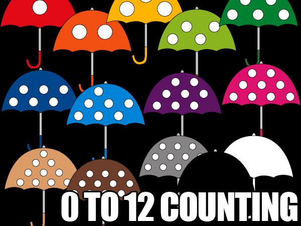 Counting dots in umbrella clipart - fun math clip art