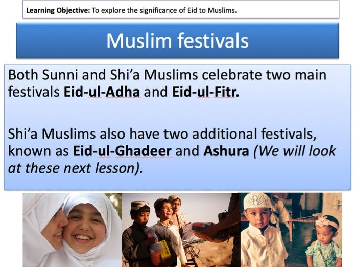 Islamic Festivals: Eid lesson for the Religious Studies OCR GCSE