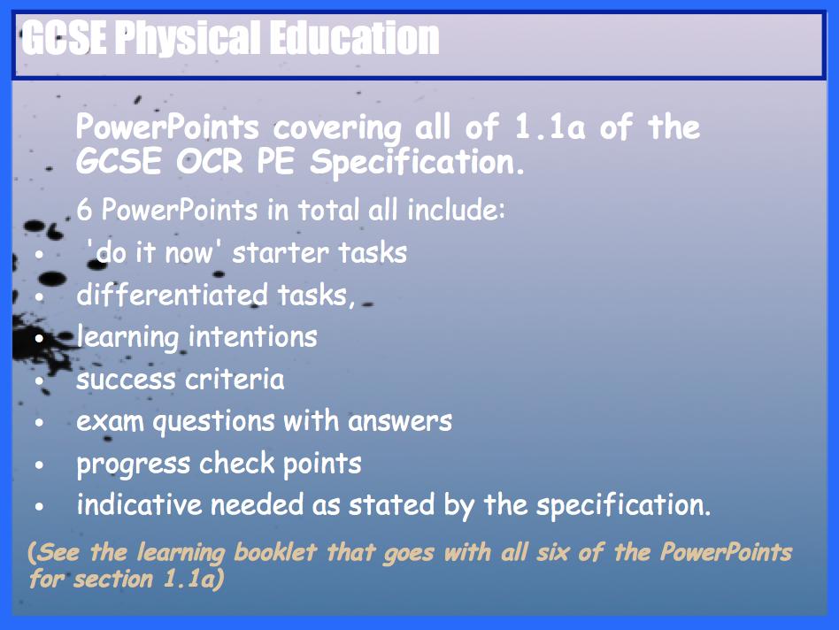 GCSE OCR PE Skeletal System (1.1a) PowerPoints