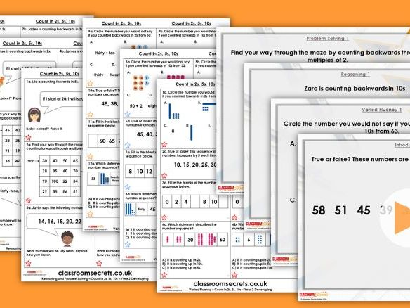 Year 2 Counting in 2s, 5s and 10s Autumn Block 1 Step 9 Maths Lesson Pack