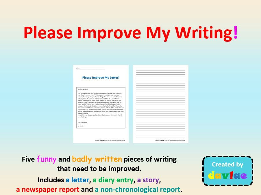 Please Improve My Writing! for KS2