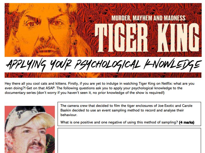 'Tiger King' - AQA Psychology past paper questions activity