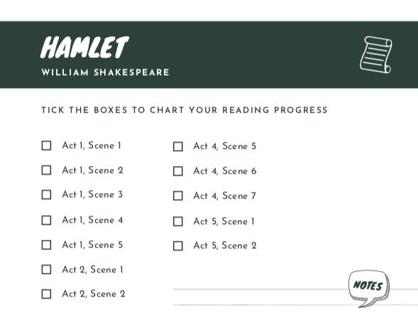 FREE Hamlet Scene Checklist | Reading Progress