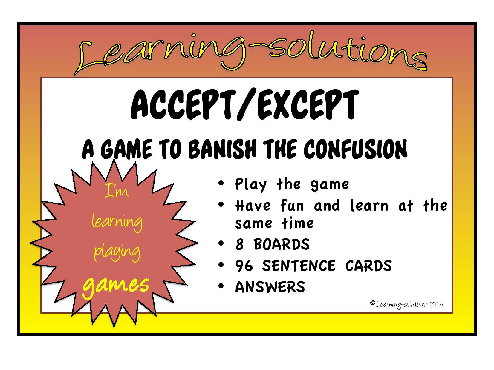 CONFUSED WORD GAMES BUNDLE accept/except, quiet/quite, then/than, were/where