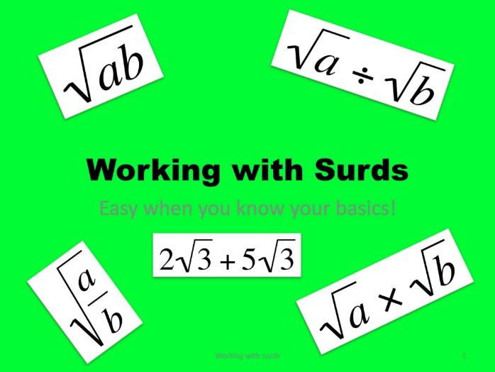 Maths GCSE foundation and higher; working with surds, including simplifying and all four rules.