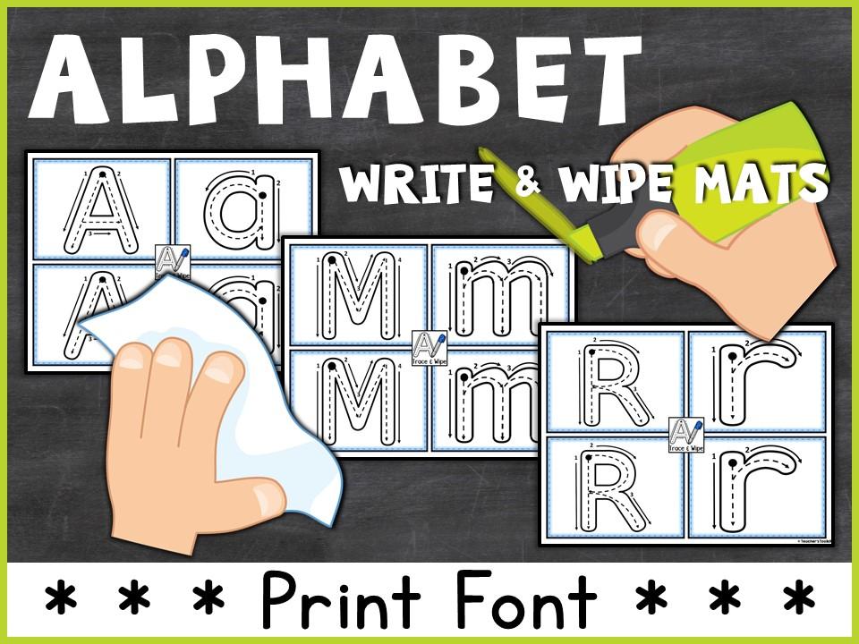 Alphabet: Alphabet Write and Wipe Mats Print Style