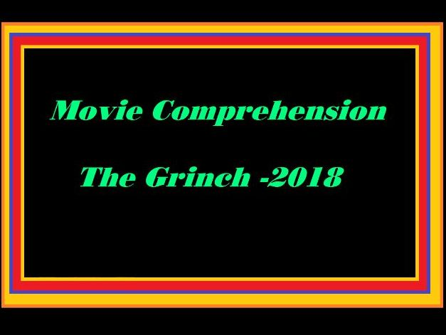 Movie The Grinch 2018 comprehension worksheet and key