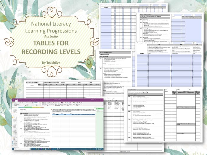National Literacy Learning Progressions Recording Templates Australia