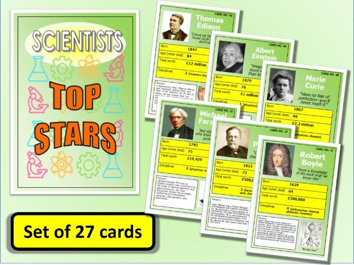 Famous SCIENTISTS Top Stars Card Game set of 27 Science Biology Physics End of Term Activity