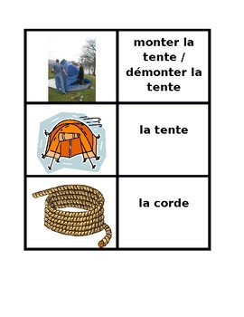 Faire du camping Vocabulary Concentration games