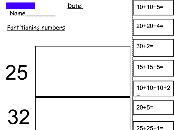 Partitioning Numbers (KS1)