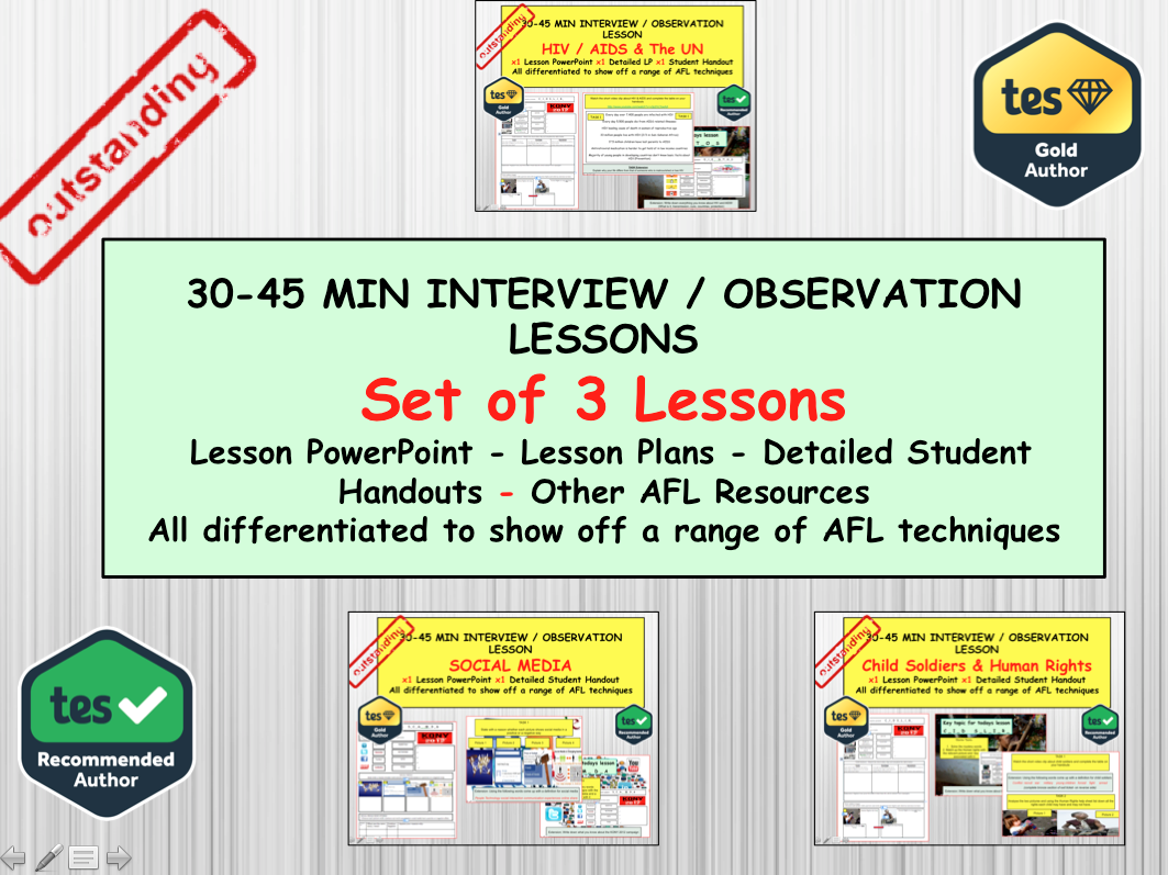 Set of 3 Interview and Observation lessons for a Citizenship or PSHE teacher
