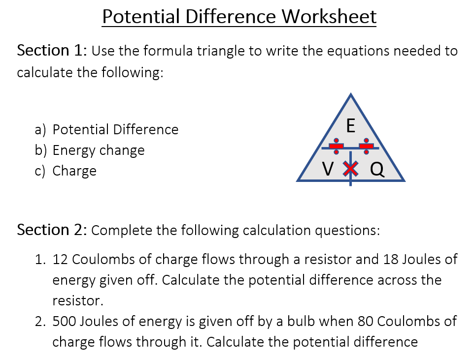 Potential Difference Worksheet