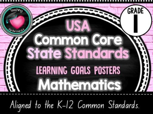 Grade 1 - USA Maths Common Core Standards - Editable Learning Goals Posters