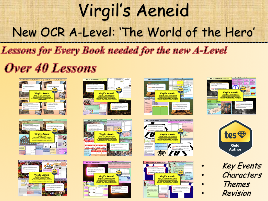 Virgil's Aeneid New OCR A-Level: 'The World of the Hero' Bundle (40+ Lessons)