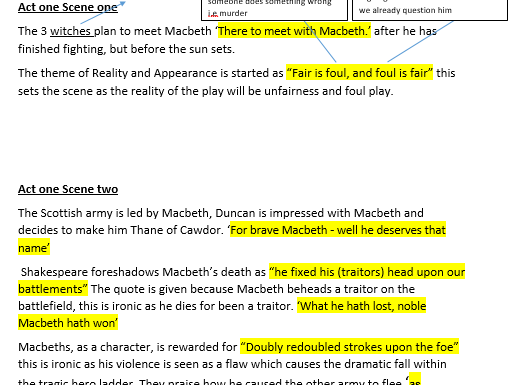 Macbeth revision booklet - plot and key quotes