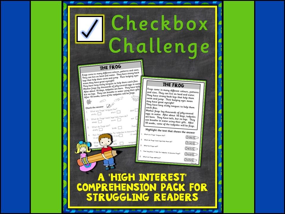 Comprehension: Checkbox Challenge Non-fiction Comprehension
