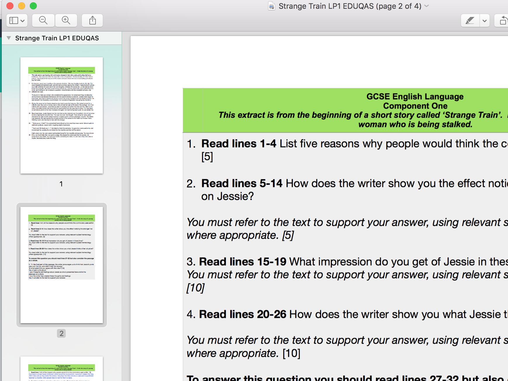 FIVE EDUQAS style Language component one mocks INC indicative content