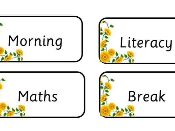 Sunflower Visual Timetable Cards
