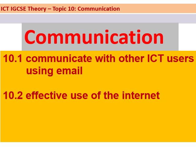 IGCSE ICT: Communication
