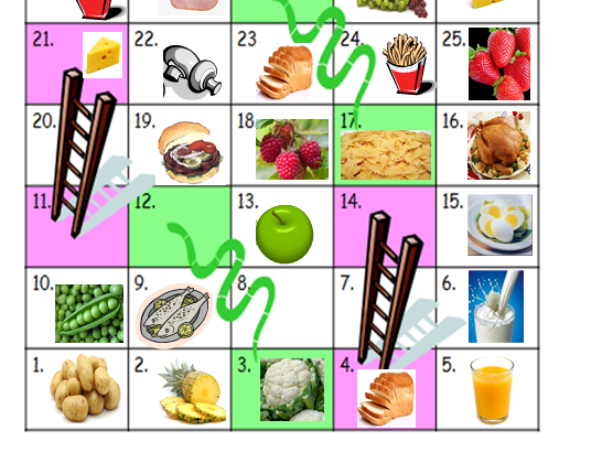 Food in French - snakes and ladders