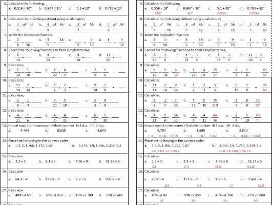 Maths Homework kit - Level 5 Number and Algebra mastery
