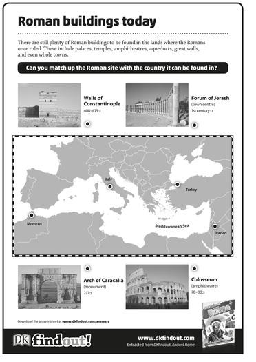 Ancient Rome Worksheet: Roman buildings today