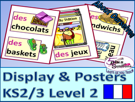55 FRENCH DISPLAY/POSTER/FLASHCARDS(KS2/3): Months, birthdays, presents, parties, &  food