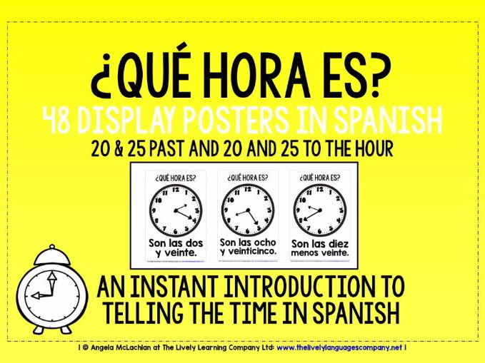 SPANISH TELLING THE TIME FLASHCARDS / POSTERS (3)