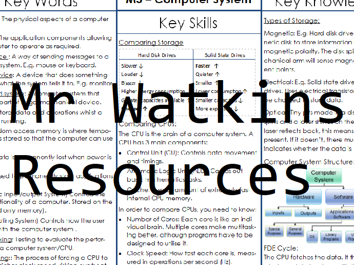 GCSE Computer Science Knowledge Organiser - Computer System