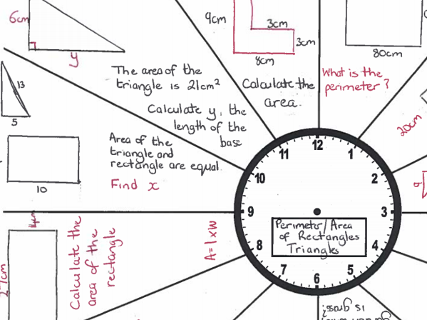 GCSE Maths /Functional Skills-Revision Clock-Area-Perimeter of Rectangles and Triangles