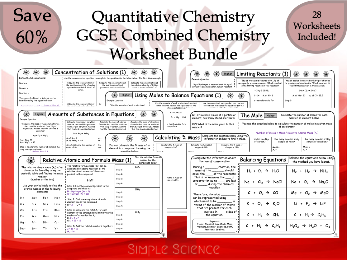 Quantitative Chemistry Worksheet Bundle - GCCE Chemistry