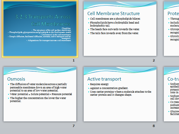 AQA A level Biology New Spec 3.2.3 Transport Across Cell Membranes
