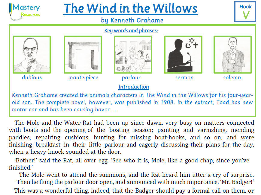 The Wind in the Willows by Kenneth Grahame Comprehension KS2