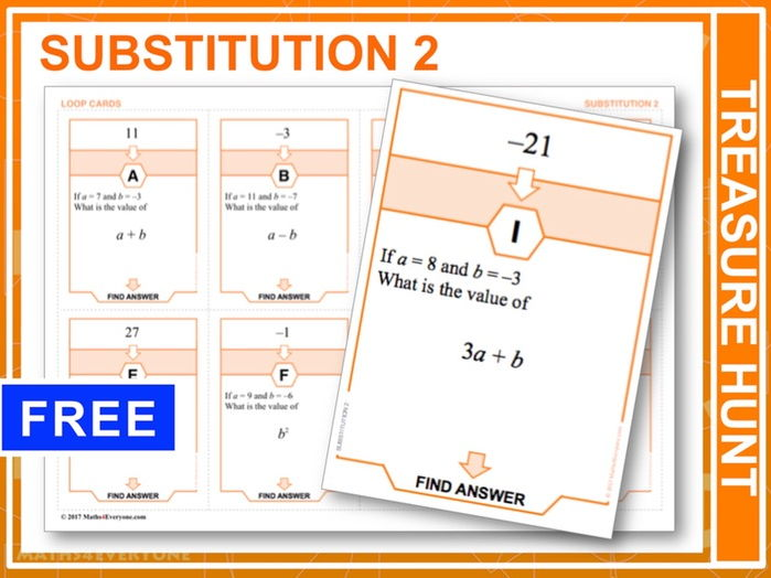 Substitution 2, Positives and Negatives (Treasure Hunt)
