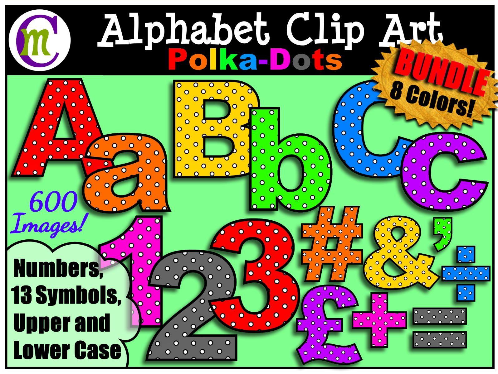 Alphabet Letters Clip Art  Polka-Dot Bold Colours BUNDLE