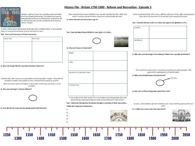BBC History File - Britain 1750-1900 - Episode 5 - Reform and Recreation - Supporting Worksheet