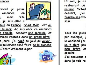 French differentiated reading comprehension about holidays