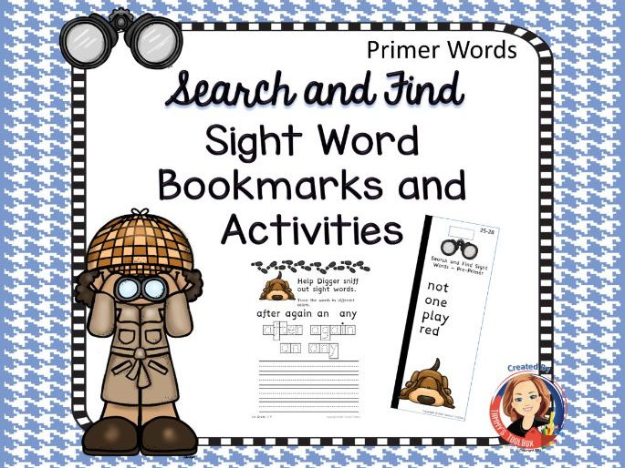 Sight Word Bookmarks and Activities, Primer Words