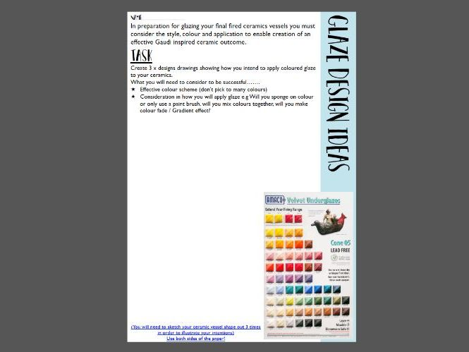 Glaze Design Worksheet For Ceramics planning KS3