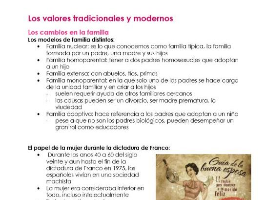 AQA Los Valores Tradicionales y Modernos NOTES for A LEVEL SPANISH