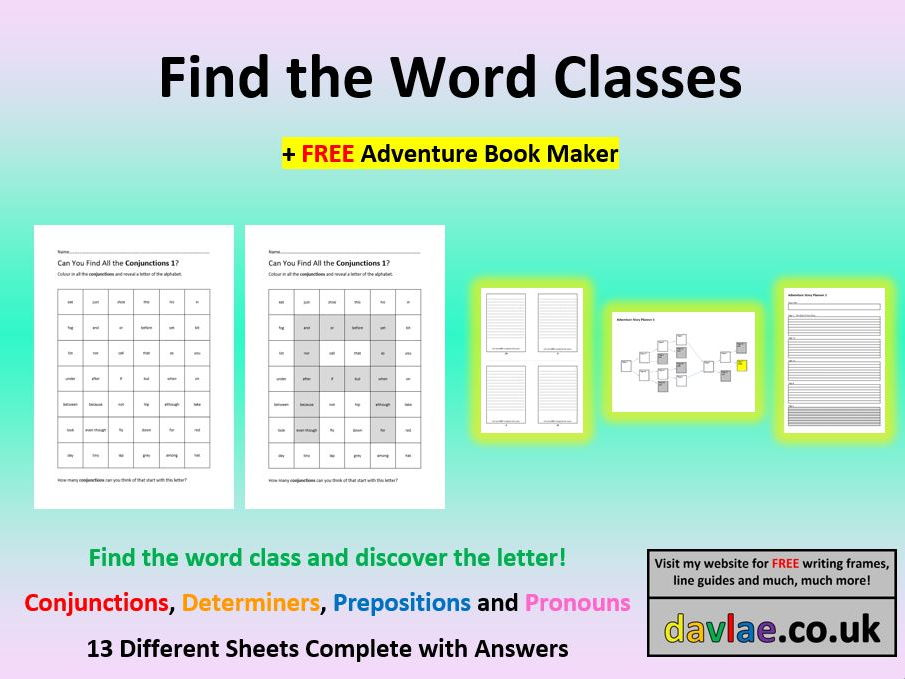 Find the Word Classes (+ FREE ADVENTURE BOOK MAKER)
