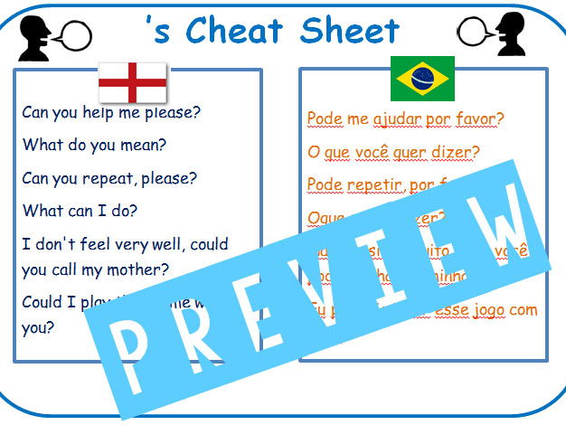 Cheat Sheet for Brazillian EAL Learners