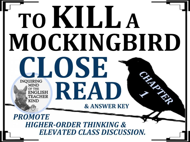 To Kill a Mockingbird Close Reading Worksheet - Chapter 1