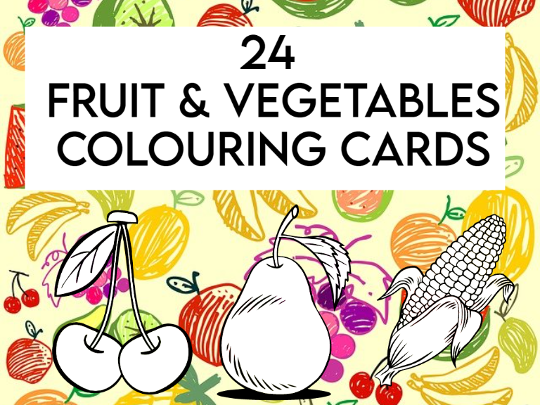 24 Fruit and Vegetables Colouring Cards