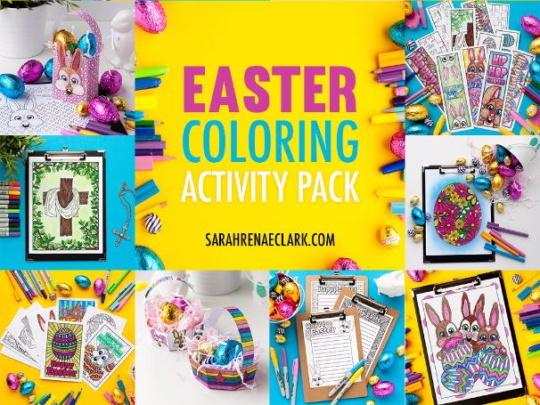 Easter Coloring Activity Pack - Printable coloring bookmarks, gift bags, greeting cards, and more!