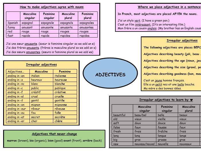 GCSE French revision adjectives